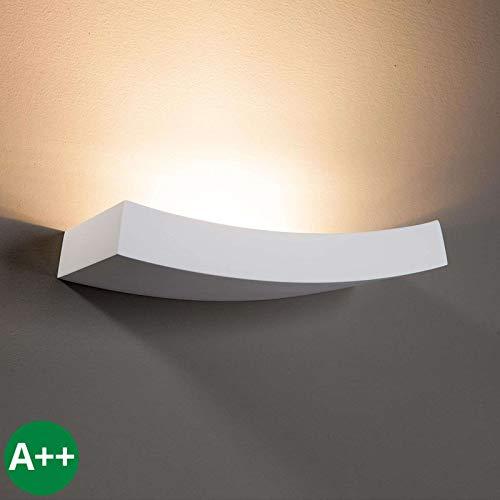 Lampenwelt Wandleuchte, Wandlampe Innen 'Leander' dimmbar (Modern) in Weiß aus Gips/Ton u.a. für Wohnzimmer & Esszimmer (1 flammig, G9, A++) - Wandfluter, Wandstrahler, Wandbeleuchtung Schlafzimmer /