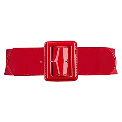 Women Classic Leather Stretchy Cinch Belt Chunky Buckle Waist Belt S 843-Red