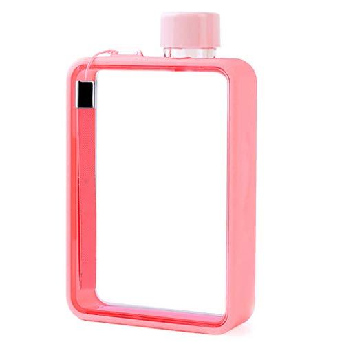 ShiftX4 Botella de agua de vidrio transparente reutilizable A5 a prueba de fugas de plástico plana taza de viaje para deportes, viajes, picnic, camping, fitness y gimnasio, plano, transparente