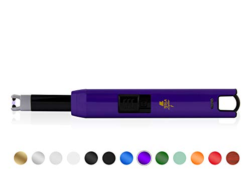 TESLA Lighter TESLA Lighter T07 Lichtbogen-Feuerzeug, elektronisches USB Stabfeuerzeug, Single-Arc Lighter, wiederaufladbar Lila Lila