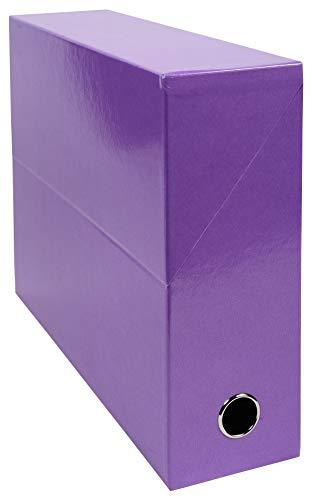 Exacompta - Réf. 89926E - 1 Boîte transfert Iderama en papier teinté dans la masse - Dos 90 mm - Œillet en métal - Pour format A4 - Dimensions 25,5 x 34 x 9 cm - Couleur violet - Livrée montée
