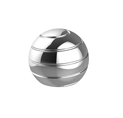 CaLeQi Kinetic Desk Toy Office Metal Spinner Ball Gyroscope with Optical Illusion for Adults Anti Anxiety Relieve Stress Inspire Inner Creativity (Silver, Diameter:38mm)