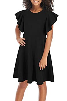GORLYA Girl s Flutter Sleeve Stretchy A-Line Swing Flared Skater Party Dress with Pockets for 4-12 Years Kids  GOR1019 11-12Y Black Color