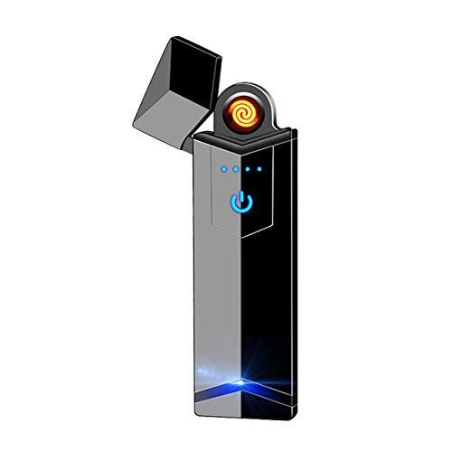 NAMCHE Elektrisches Feuerzeug USB aufladbar Feuerzeug ohne Feuer. Ökologisch, Ohne Gas, die Premium Qualität. Anti Wind Feuerzeug sehr eleganter ultrafeinem (Schwarz mit LED)