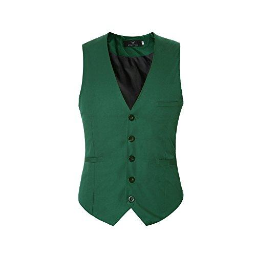 Elegantes Slim Fit Hombre Chaleco Sin Mangas de Traje Casual V-Neck Blazers (3XL, Verde)