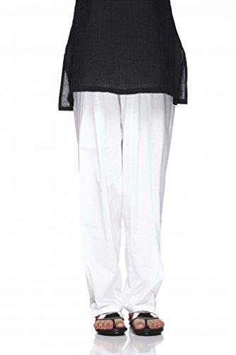 ladyline Plain Cotton Salwar Pants with Elastic Closure Indian Baggy Pants for Women Yoga (White, Size-M)