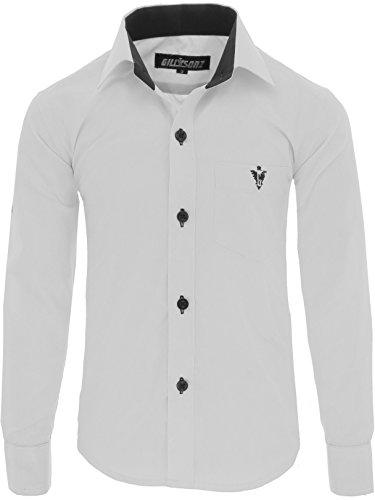 GILLSONZ A7vDa Kinder Party Hemd Freizeit Hemd bügelleicht Lange Arm mit 10 Farben Gr.86Bis158 (140/146, Weiß)