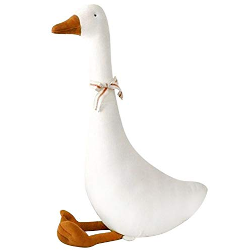 Daxoon Gans knuffeldier schattige zuivere witte ganspop kussen cadeau voor kinderen 55 x 19 cm