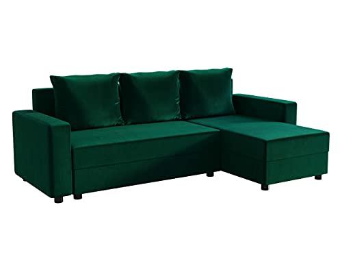 Mirjan24 Ecksofa Vibo! Eckcouch Sofa mit Bettkasten und Schlaffunktion! L-Form Couch, Ottomane Universal, Farbauswahl, Schlafsofa vom Hersteller (Magic Velvet 2225)