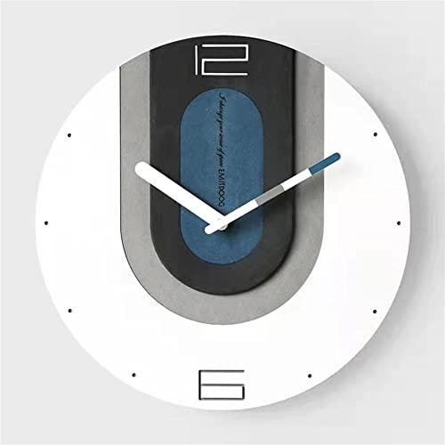 Reloj de Pared Silencioso, Redondo Funciona con Pilas No-Ticking Fáciles de Leer Creativo Diseño Moda Minimalista Moderno Decoración Hogar Pared Habitacion Salon Oficina-Azul