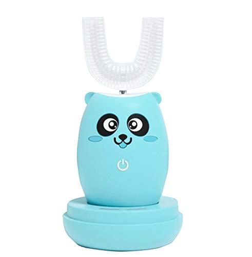 Intelligente Vollautomatik Variabel Frequenz 360° Ultraschall Elektrische Zahnaufhellung Automatik Zahnbürste 3 Reinigungsmodi U-Form Einmaul-Design,Tasse mit Zahnbürste,Blau