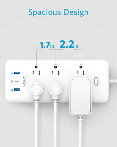 Anker USB C Surge Protector Power Strip, 6 Outlet & 3 USB (30W) with Power Delivery Port Power Strip, PowerPort Strip PD 6 with 6.6 Foot Long Cord, Flat Plug, for Home, Office, and More
