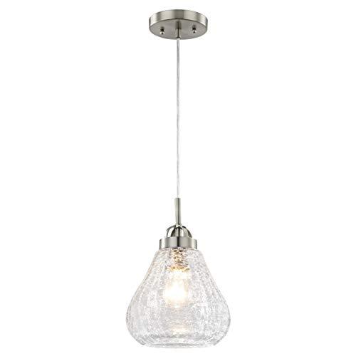 Westinghouse 6309140 - Lampada a Sospensione E27, Acciaio/Vetro, Nichel Spazzolato