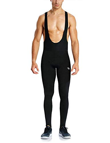 BALEAF Men's 3D Padded Thermal Cycling Bib Long Pants Winter Bike Tights Cold Weather Leggings Black Size L