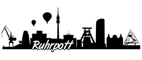 Samunshi® Ruhrgebiet Skyline Wandtattoo Sticker Aufkleber Wandaufkleber City Gedruckt Ruhrgebiet 120x40cm schwarz