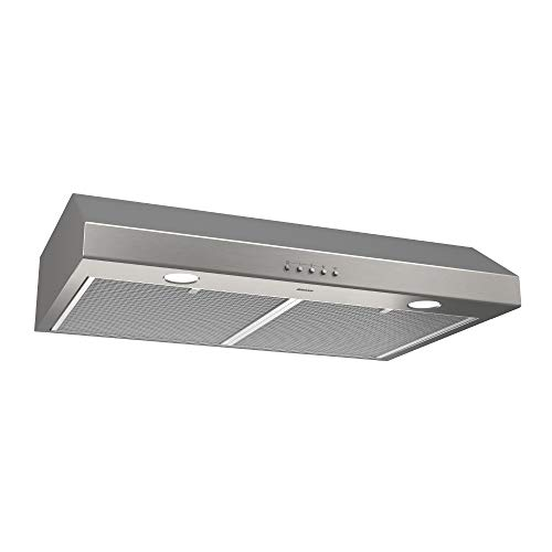 """Broan-NuTone BCSQ130SS Three-Speed Glacier Under-Cabinet Range Hood with LED Lights ADA Capable, 1.5 Sones, 375 Max Blower CFM, 30"""", Stainless Steel"""