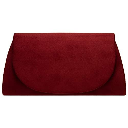 Caspar TA525 Damen elegante Textil Velours Envelope Clutch Tasche Abendtasche, Farbe:weinrot, Größe:Einheitsgröße