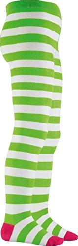 Playshoes Mädchen Blockringel Strumpfhose, Grün (grün/weiß 46), 122 (Herstellergröße: 122/128)