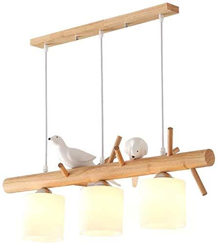 Iluminación de techo interior, Luz colgante de madera moderna, lámpara de chandelada de cristal escarchado Cepillado Cepillado Lámpara de techo ajustable para comedor Cuarto de cama Cocina-Madera 6020