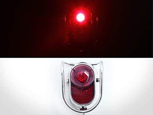 Bicycle Rear LED Tail Lights - Chrome Old School Vintage Classic Tour-UK