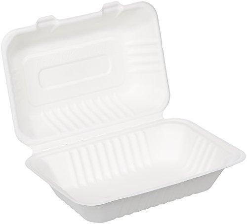 Amazon Basics - Recipientes de comida para llevar desechables, diseño de almeja, convertibles en abono ecológico y biodegradables, 15 x 23 x 8 cm, 100 unidades