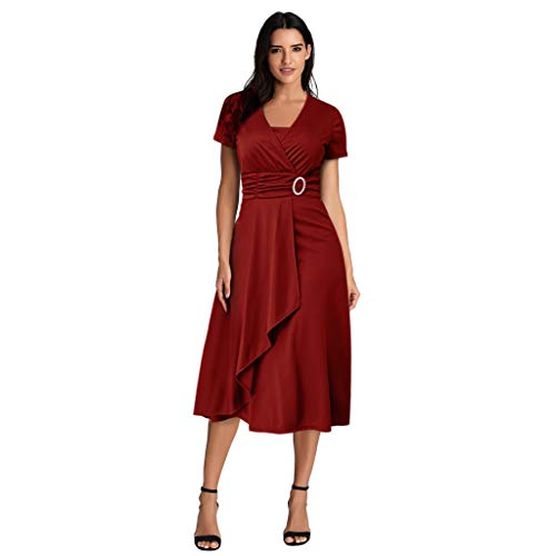 Zegeey Damen Abendkleid Einfarbig V-Ausschnitt Kurzarm Asymmetrischer Saum GroßE GrößEn Rockabilly Brautkleid Brautjungfern Kleid Cocktailkleid Ballkleider Festlich(rot,46 DE/4XL CN)