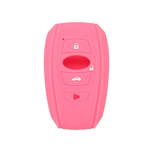 SEGADEN Silicone Cover Protector Case Holder Skin Jacket Compatible with SUBARU 4 Button Smart Remote Key Fob CV4255 Pink