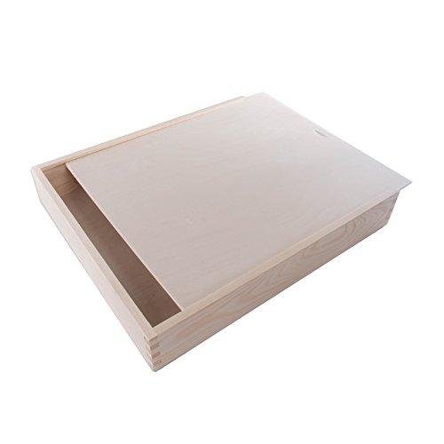 SEARCHBOX Gran Caja de Madera con 2Compartimentos y Tapa Deslizante Caja de almacenamiento//39x 34x 6cm