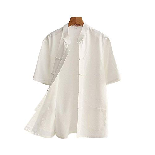 G-like Chinesische Tangzhuang Herren Hemden - Traditionelle Kostüme Kampfkunst Kung Fu Tai Chi Outfit Uniform Kurzärmelige Oberbekleidung Jacke Sommerkleidung für Männer – Baumwolle (Weiß, XL)
