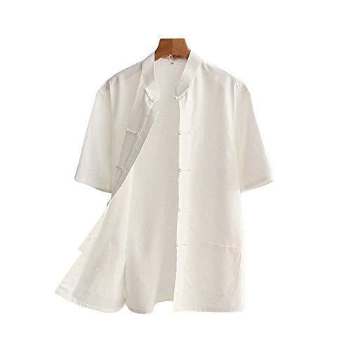 G-like Chinesische Tangzhuang Herren Hemden - Traditionelle Kostüme Kampfkunst Kung Fu Tai Chi Outfit Uniform Kurzärmelige Oberbekleidung Jacke Sommerkleidung für Männer – Baumwolle (Weiß, L)