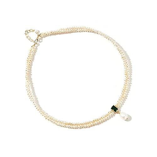 Gargantilla redonda de perlas de agua dulce, collar de doble hebra con colgante de circón, accesorios para fiestas, gran regalo para mamá y niñas, color blanco para ella