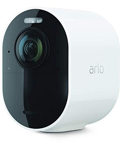 ArloUltra2 Spotlight WLAN Überwachungskamera aussen, kabellos, 4K, Nachtsicht in Farbe, Bewegungsmelder, 2-Wege-Audio, SmartHub benötigt, mit 90-tägigem Testzeitraum für Arlo Secure Plan, VMC5040