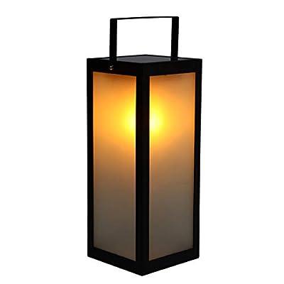 Grand patio Solar Lantern,10 Lumens LED Sun Powered Dancing Flame Waterproof Outdoor Hanging Light,Metal Classic Decorative Lights,Black,Rectangle
