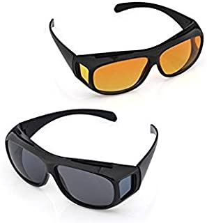 divinext Plastic over Prescription HD Polarized Unisex Sunglasses and Night Vision Glasses Combo Pack (Multicolour)