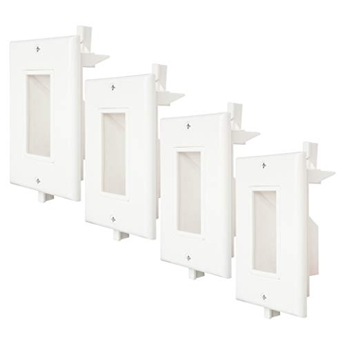 Recessed Cable Wall Plate 4 Pack with Fly Mounting Wings Bottom Opening for Wall Plate Cable Pass Through for Speaker Wires, Coaxial Cables, HDMI Cables, or Network/Phone Cables WI1009-4