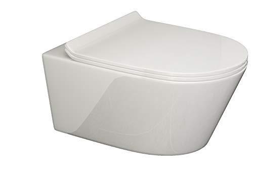 SSWW | Design Hänge WC | Spülrandlose Toilette | Wand-WC | WC-Set | Inkl. abnehmbaren WC-Sitz mit Softclose Absenkautomatik | BETA | 540 x 360 x 310 mm