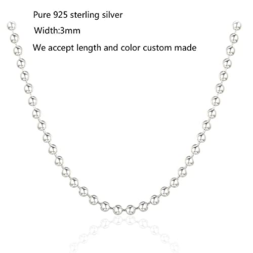 Zjxxm 16-32  Real Pure 925 Sterling Silver Beaded Cha Chocker Necklace For Women Kids Girls Men  3mm-50cm