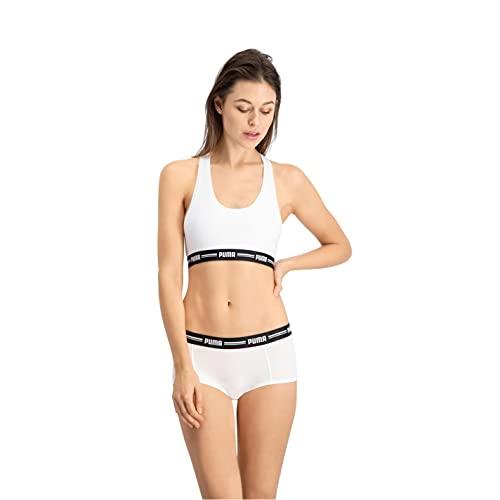 PUMA Damen Puma Iconic Women's Mini Short (2 Pack) Hipster Panties, White White, M EU