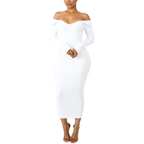 Cebbay Robe Longue Femme Automne Hiver Elegant Sexy Robe Épaule Manches Longues Crayon Chic Pull Robe de Soirée Solide Slim élasticité Pull Dress(Blanc,XL)