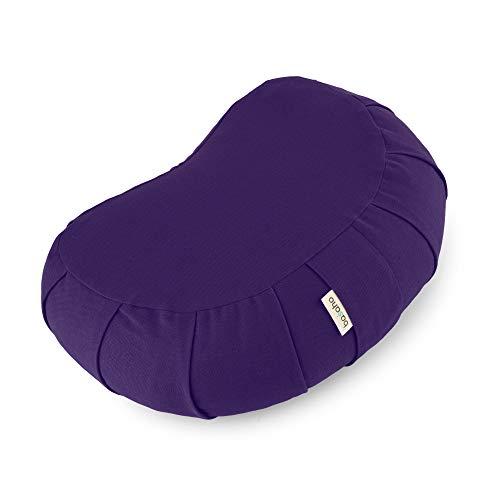 basaho Crescent Zafu Coussin de Méditation | Coton Bio (certifié GOTS) | Coques de Sarrasin | Housse Amovible et Lavable (Violet Pure)