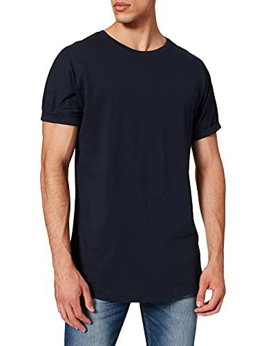 Urban Classics Herren Long Shaped Turnup Tee T-Shirt, midnightnavy, L