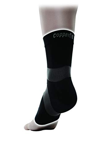 Copper Fit Pro Series Performance Compression Ankle Sleeve, Black with Copper Trim, Medium, Packaging May Vary