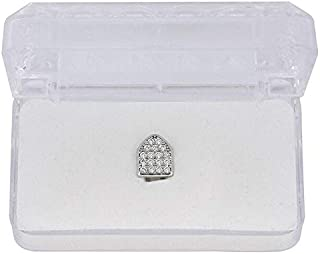 Joulee Factory Bottom Price Bling CZ Iced Out Teeth Grillz Gold Color Single Fake Tooth Hip Hop Jewelry US UK Top Sale Mouth Bijoux - (Metal Color: Silver)