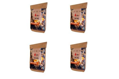 ZARELO Fire Curls nachhaltige Grill- und Kaminanzünder, Grillanzünder, Bio-Anzünder umweltfreundlich aus Bio Holz (4 Packungen)