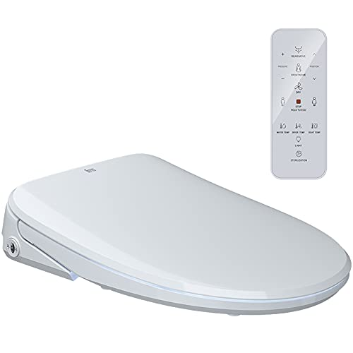 Electric Bidet Toilet Seat with Remote Control, Smart Heated Toilet Seat with Air Dryer   Consistent Warm Water   Deodorization   Unique Arc Nozzle   Ultra Slim   Elongated, Cotton White