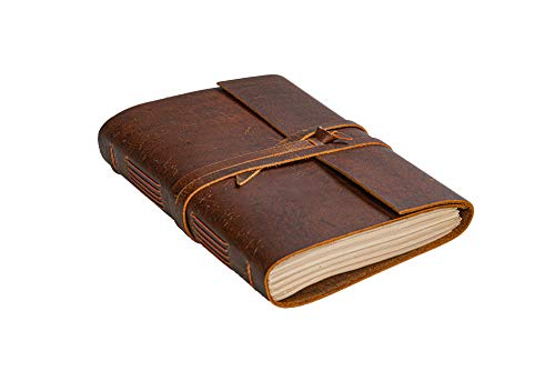 Leather Journal Notebook(6x8 in) - Vintage Leather Bound Journals Handmade Rustic Finish Book...