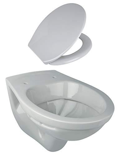 Calmwaters® - Tiefspülendes Wand-WC im Set in Manhattan-Grau mit WC-Sitz aus Duroplast mit Absenkautomatik - 99000191