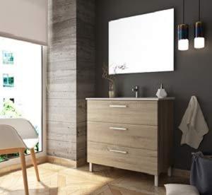 Aquareforma | Mueble de Baño con Lavabo y Espejo | Mueble Baño Modelo Menorca 3 Cajones con Patas | Muebles de Baño | Diferentes Acabados Color | Varias Medidas (Cambrian, 100 cm)