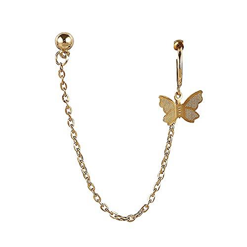 1 pendientes de mariposa con borla minimalista cadena escalador orugas para orejas, arete de aro para colgar en la chaqueta, joyería para mujeres y niñas