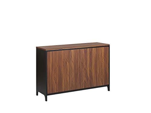Beliani Retro Modern Sideboard Walnut with Black 3-Door Cabinet Medfort